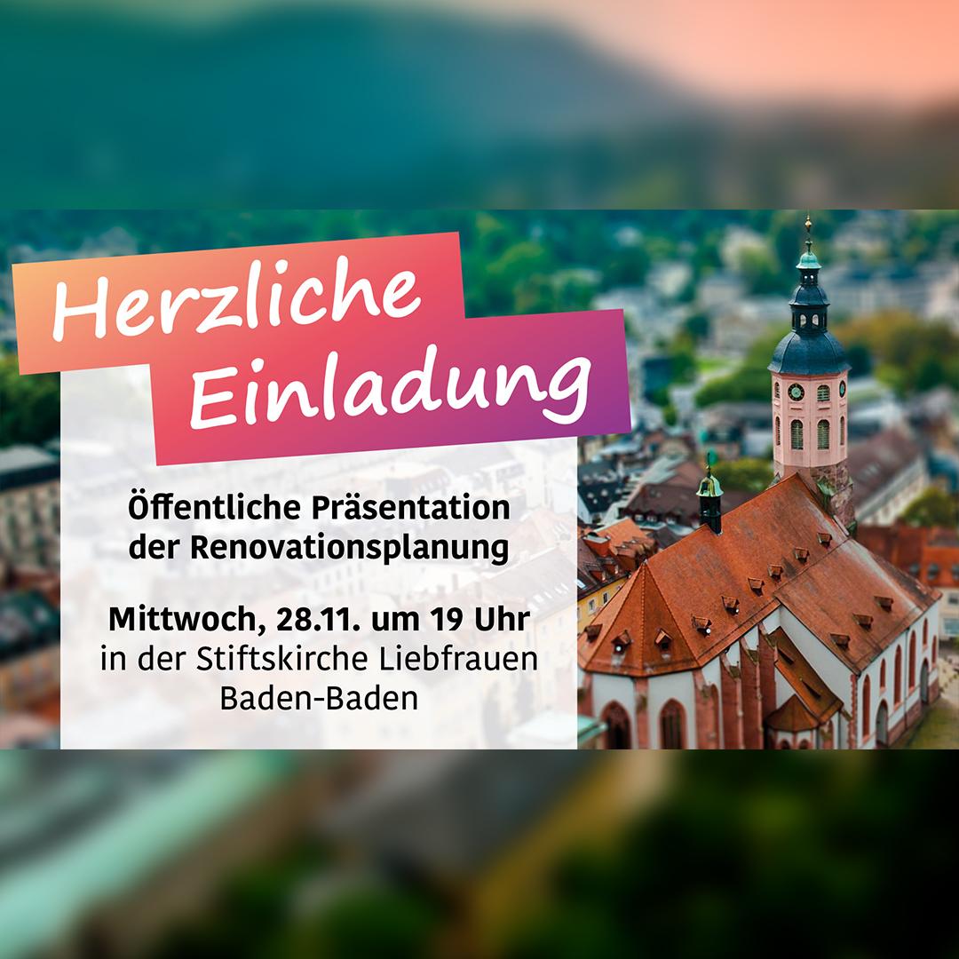 Einladung, Stiftskirche im Hintergrund, Vorstellung von Renovation